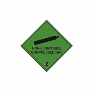 Non Flammable Compressed Gas - Self Adhesive Sticky Sign (100 x 100mm)