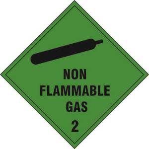 Non flammable gas Class 2 - Self Adhesive Sticky Sign (100 x 100mm)