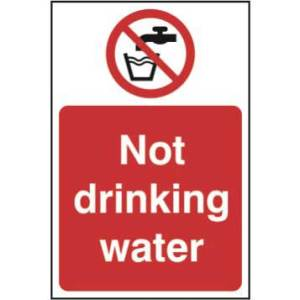 Not Drinking Water Sign - Self Adhesive Sticky Sign (200 x 300mm)