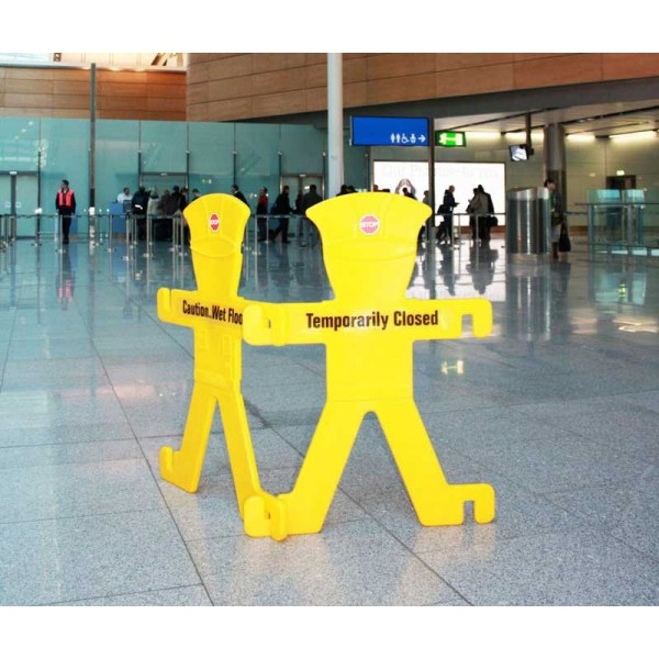 Pair of Minder barriers Inc fold away stands and 6 signs