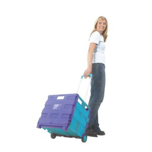 Plastic Folding Box Trolley - Black/Green - without lid - 35kg