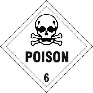 Poison 6 - Self Adhesive Sticky Sign Diamond (100 x 100mm)