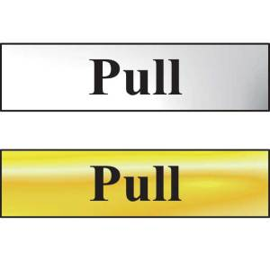 Pull Sign - Polished Gold Effect (200 x 50mm)