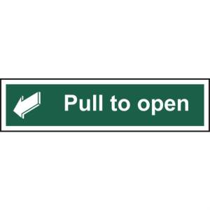 Pull to open - Self Adhesive Sticky Sign (300 x 75mm)