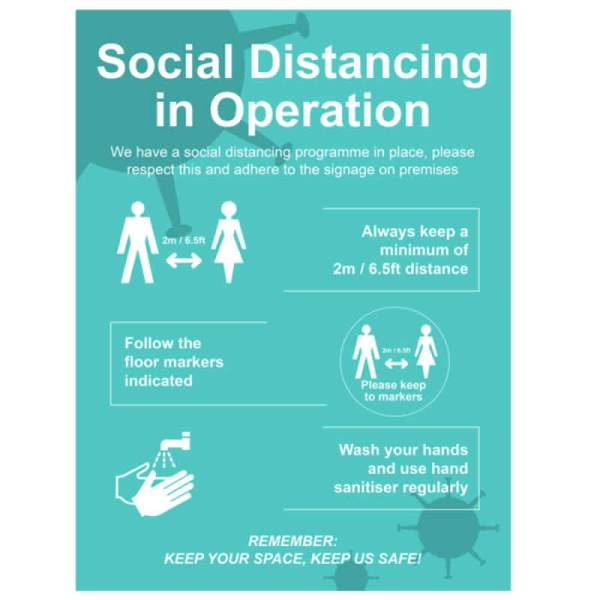 Safe Social Distancing Sign FMX 600 x 450mm