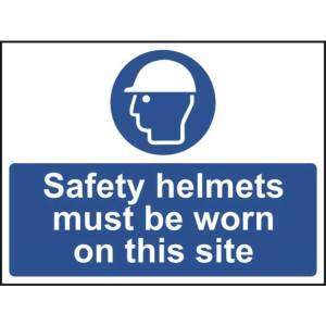 Safety helmets must be worn on this site - Sign - PVC (600 x 450mm)