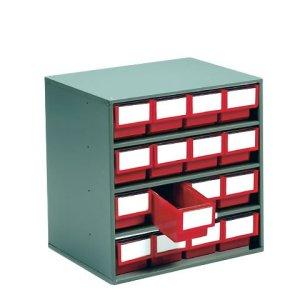 Small Parts Colour Bin Cabinets Grey 16x 82h x 92w x 400d Bins