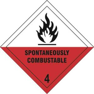 Spontaneously Combustible 4 - Self Adhesive Sign Diamond 100 x 100mm