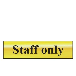 Staff Only Sign - Polished Gold Effect (200 x 50mm)