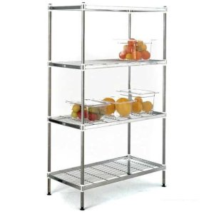 Stainless Steel Wire Shelving with 4 Shelves 900w x 6000d Starter Bay