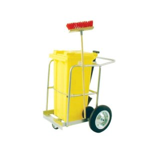 Street Cleaning Barrow with 120L Yellow Wheelie Bin, Brush And Shovel