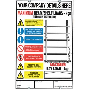 Weight Load Notices for Cantilever Racking 356h x 254w
