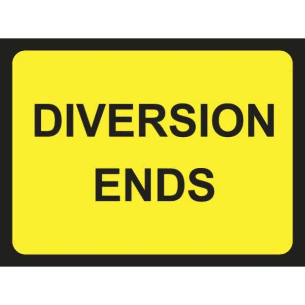 Zintec 1050 x 750mm Diversion Ends Road Sign with Relevant Frame