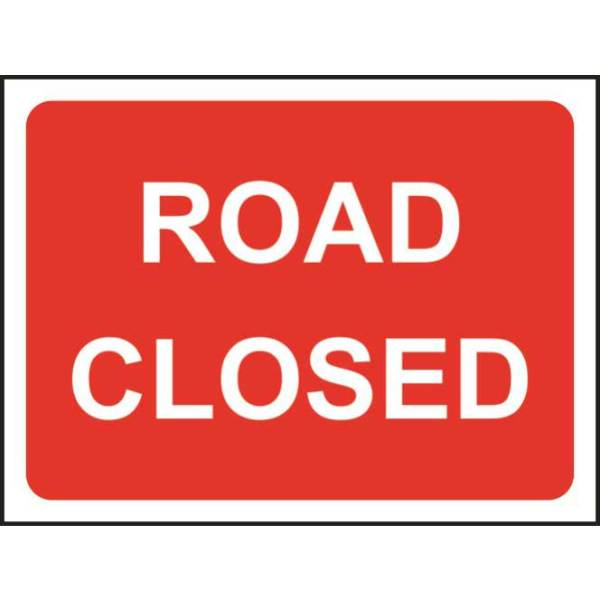 Zintec 1050 x 750mm Road Closed Road Sign with Frame