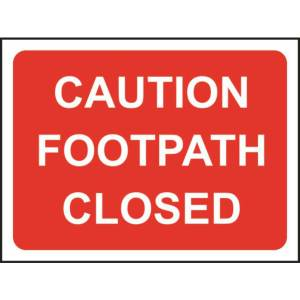 Zintec 1050x750mm Caution Footpath Closed Road Sign with Frame