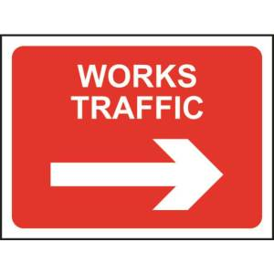 Zintec 1050x750mm Works Traffic Right Road Sign (no frame)