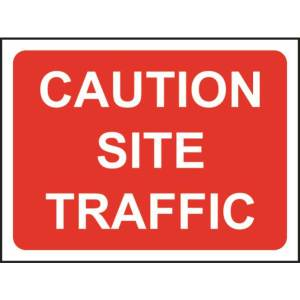 Zintec 600 x 450mm Caution Site Traffic Road Sign with Frame