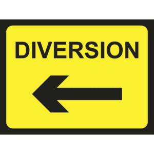 Zintec 600 x 450mm Diversion Arrow Left Road Sign with Relevant Frame