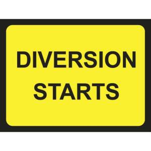 Zintec 600 x 450mm Diversion Starts Road Sign with Frame