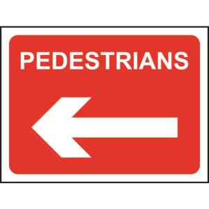 Zintec 600 x 450mm Pedestrians Left Road Sign with Frame