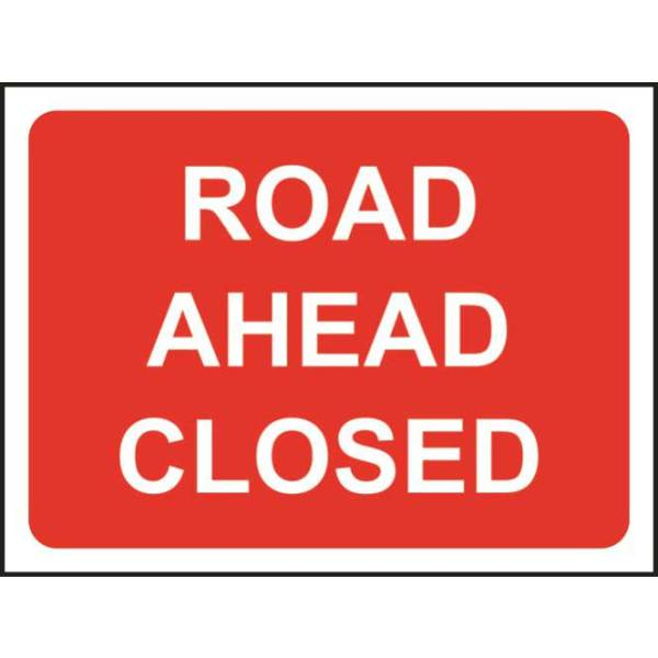 Zintec 600 x 450mm Road Ahead Closed Road Sign with Frame