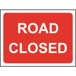 Zintec 600 x 450mm Road Closed Road Sign with Frame