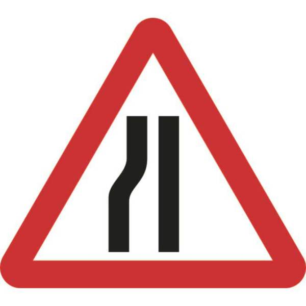 Zintec 600mm Triangular Road Narrows Left Road Sign with Frame