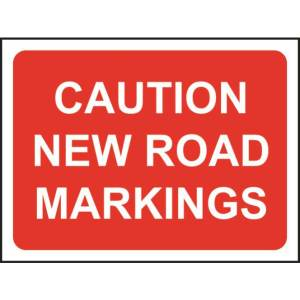 Zintec 600x450mm Caution New Road Markings Road Sign with Frame