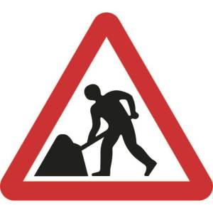 Zintec 750mm Triangular Men At Work Road Sign (no frame)