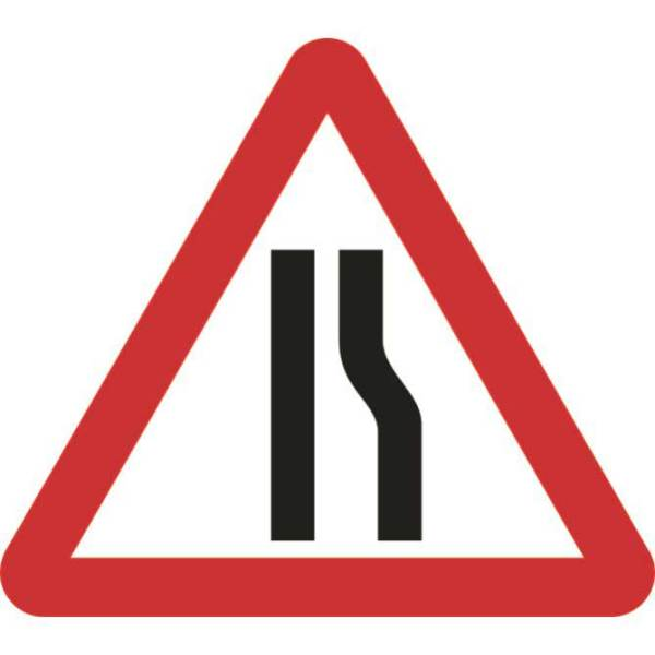 Zintec 750mm Triangular Road Narrows Right Road Sign (no frame)