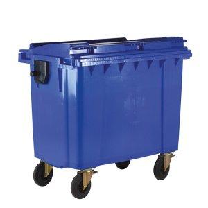 770L Blue Wheelie Bin with Lockable Lid - 1360 x 1350 x 770