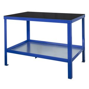 840mm x 1500mm x 600mm Rubber Topped HD Workbench with Cupboard, Bottom Shelf