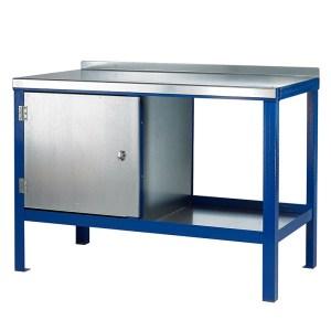 840mm x 1500mm x 750mm Steel Top HD Workbench with Cupboard, Bottom Shelf