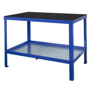 840mm x 1500mm x 900mm Rubber Topped HD Workbench with Cupboard, Bottom Shelf