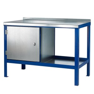 840mm x 2000mm x 750mm Steel Top HD Workbench with Cupboard, Bottom Shelf