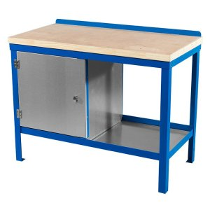 840mm x 2000mm x 750mm Wood Top HD Workbench with Cupboard, Bottom Shelf