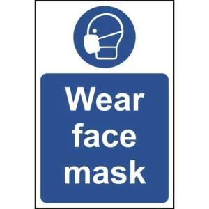 All visitors please wear face covering/Temperature checks in place Sign - Rigid PVC -200 x 300mm
