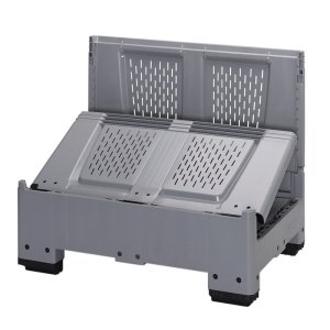 Lid for plastic collapsible pallet box