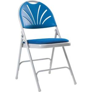 Series 2600 Upholstered Seat Folding Chair Blue (Pk 4)