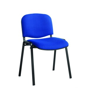 Stackable Padded Office Chairs - Charcoal Fabric, Black Frame
