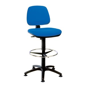 Upholstered High Lift Counter Chair with Glide base - Black Fabric