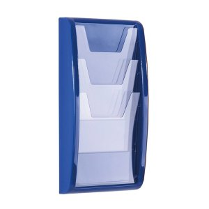 Wall mounted leaflet display unit - 4 x 1 third A4 pockets