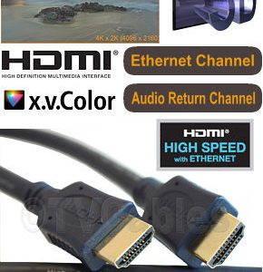 1m Hdmi Cable High Speed with Ethernet Channel Audio Return HEAC