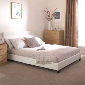 Bugi Double Bed In A Box White Faux Leather