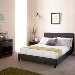 Bugi King Size Bed In A Box Black Faux Leather