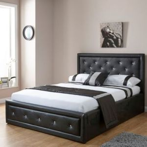 Hollywood Double Ottoman Bed Black Faux Leather