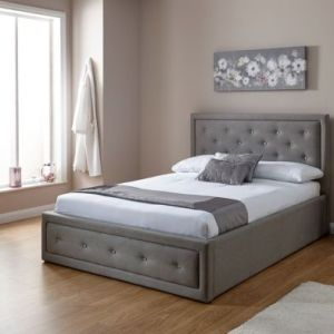 Hollywood Double Ottoman Bed Grey