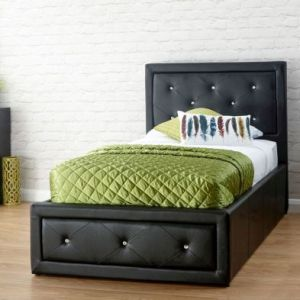 Hollywood Single Ottoman Bed Black Faux Leather