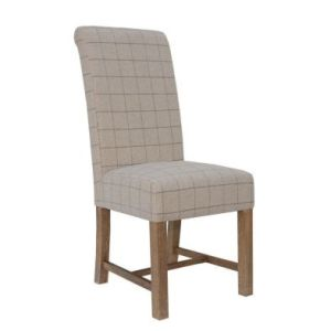 Urban Chesterfield Woolen Upholstered Dining Chair Chequered Natural