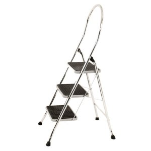 3 tread Chrome Folding Steps with black ribbed slip resistant treads - 150kg load capacity - EN 14183 compliant, TUV tested/GS approved